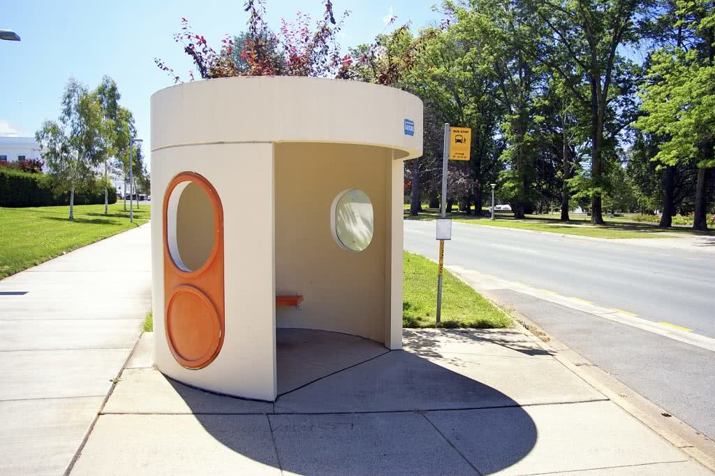 Canberra's iconic ACTION Bus shelter in Canberra location