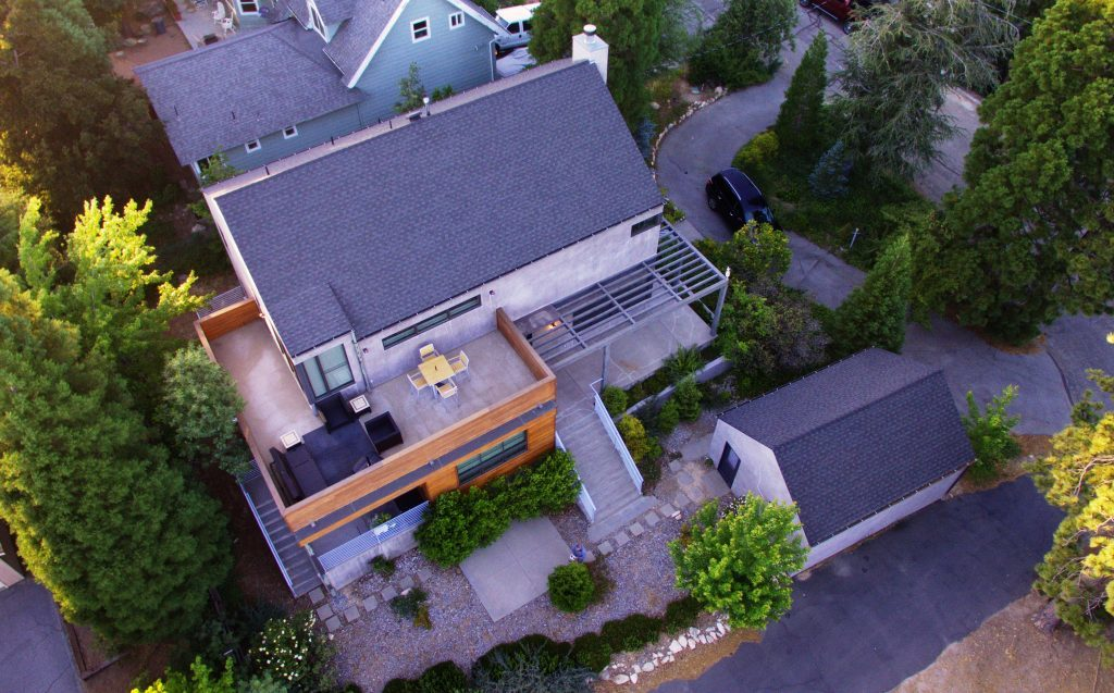 Semi-aerial view of a large suburban property