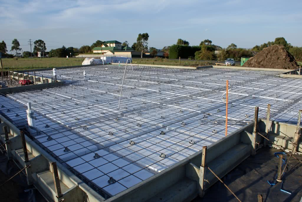 Waffle slab and footing during the building of a new home