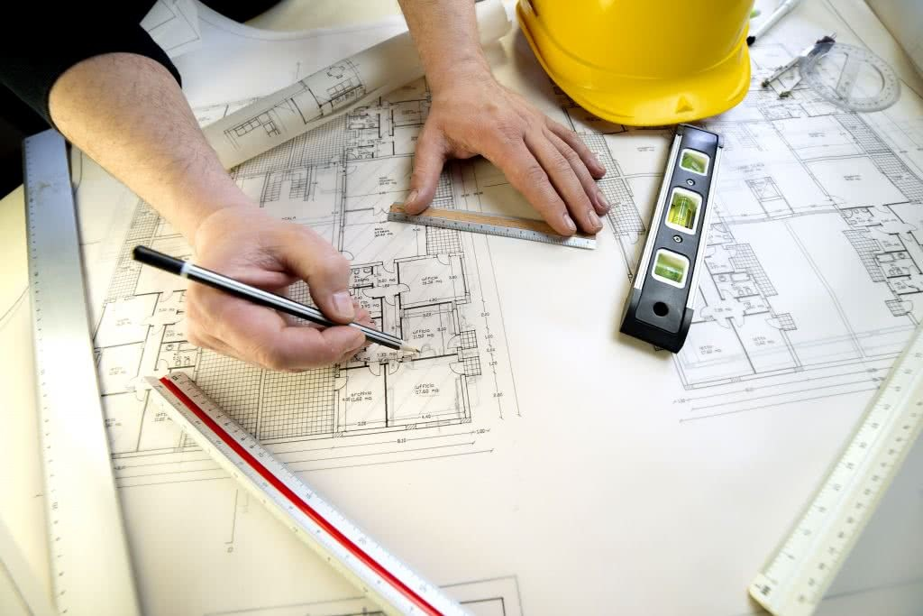 Close-up of a working drawing in preparation for building a new home