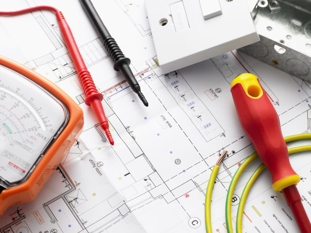 Close-up of electricity plan before building of home commences
