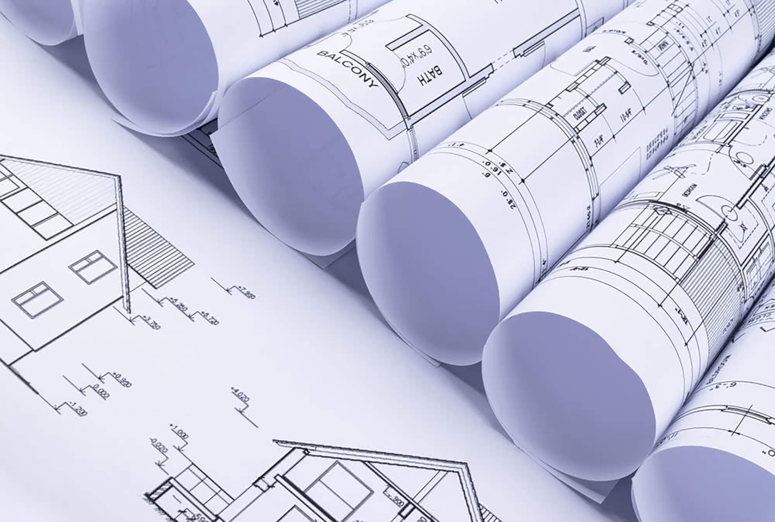 Close-up of engineering plans in preparation for building a new home