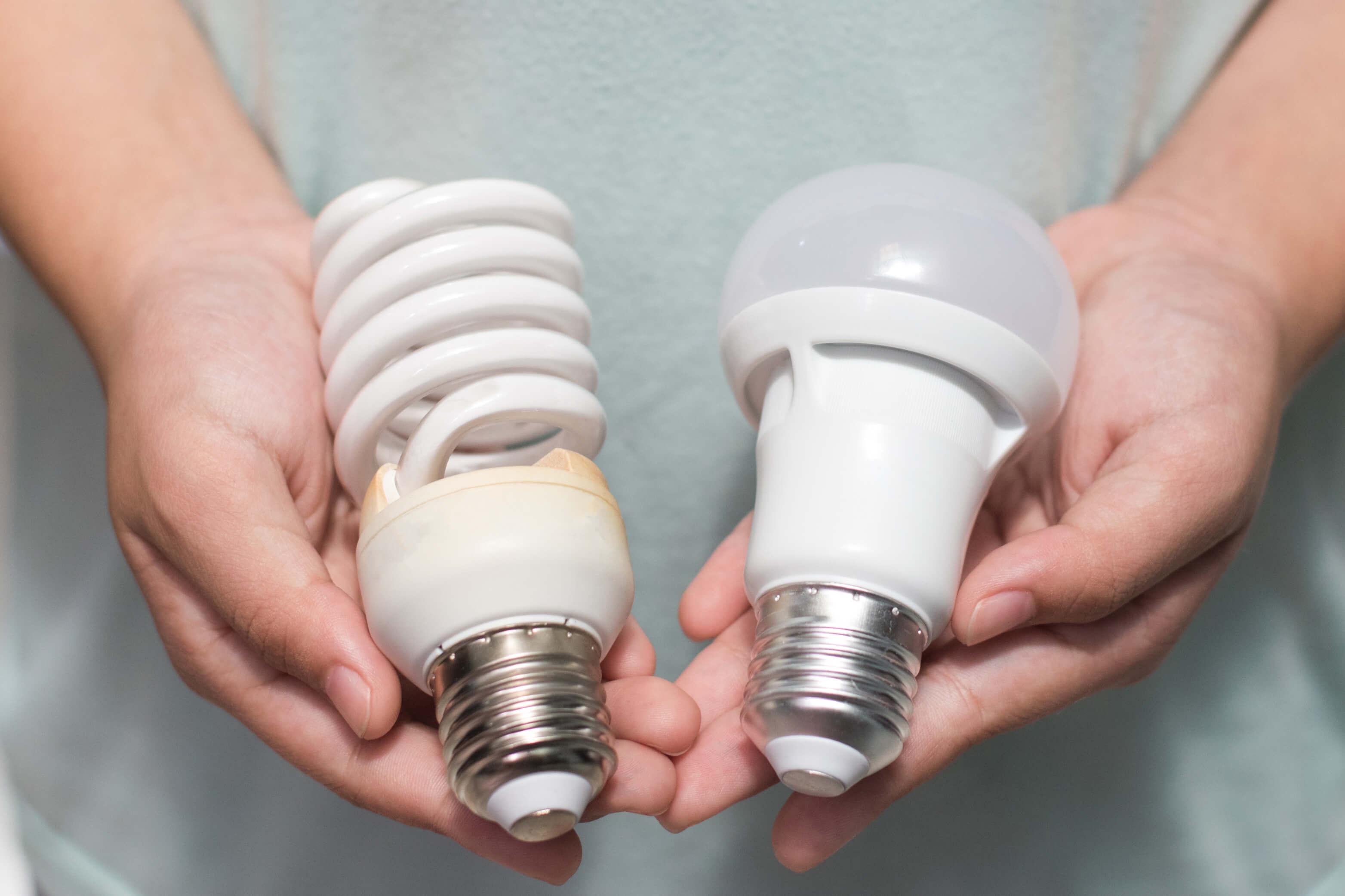 Pair of hands holding energy saving light bulbs